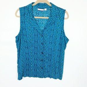 Croft & Barrow Sleeveless Button Up Shirt Sz. L